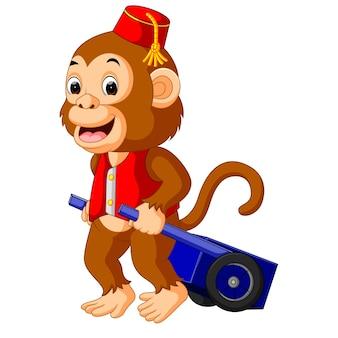 Circus aap met winkelwagen