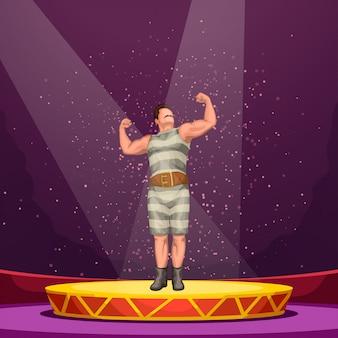 Circus atleet op het podium