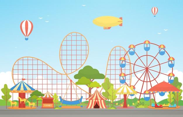 Circus carnaval festival kermis met vuurwerk landschap