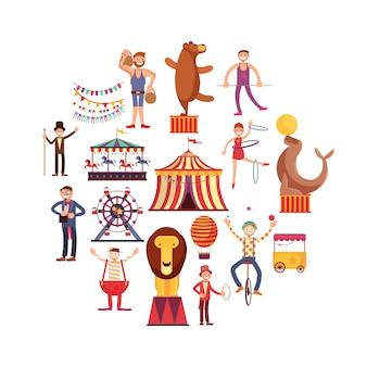 Circus-carnaval platte vector iconen in cirkel ontwerp