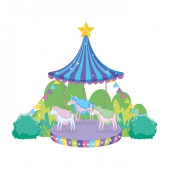 Circus carrouselscène in het landschap