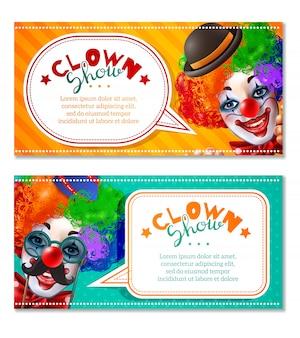 Circus clown laat 2 horizontale banners zien