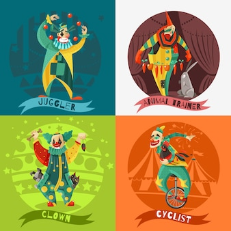 Circus clowns 4 pictogrammen vierkant concept