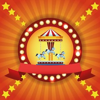 Circus eerlijke festival kleurrijke embleem