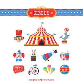 Circus elementen collectie in plat design