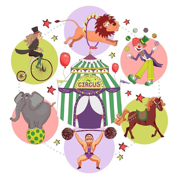 Circus elementen samenstelling in vlakke stijl