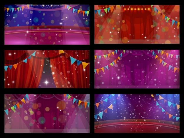 Circus en theater podium interieur met gordijnen, kermis carnaval show. circuspodium of theatervoorstelling showscène met rode draperiegordijnen, vlaggen en schijnwerpers