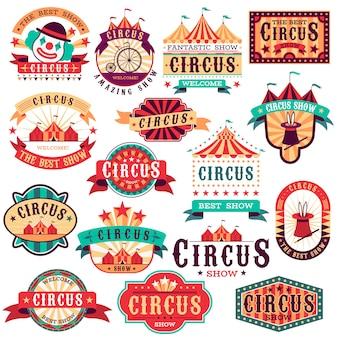 Circus etiketten. vintage carnavalshow, circus uithangbord. vermakelijk evenementenfestival. papieren uitnodigingsbanner, pijlstickers