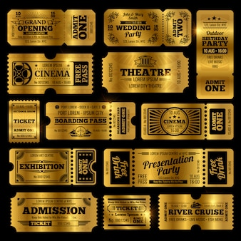 Circus, feest en bioscoop vintage toegangskaarten sjablonen.