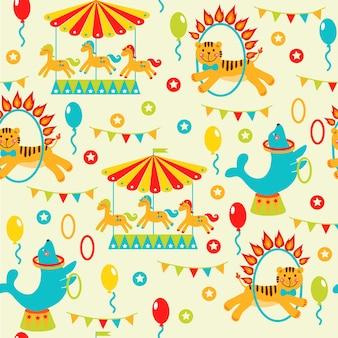 Circus feestkaart ontwerp voor kinderen vectorillustratie