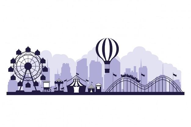 Circus festival eerlijke landschap blauwe en witte kleuren
