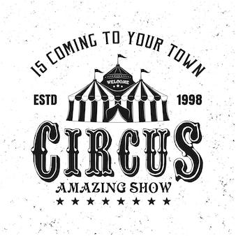 Circus geweldige show vector zwart embleem, label, badge of logo in vintage stijl geïsoleerd op een witte achtergrond