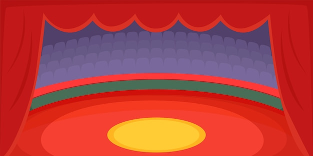 Circus horizontale arena als achtergrond, beeldverhaalstijl