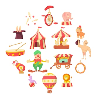 Circus iconen set, cartoon stijl