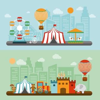 Circus in stad platte banners instellen