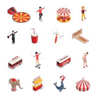 Circus isometrische set van manege juggler clown acrobaat getrainde dieren kaartjes cola carrousel decoratieve pictogrammen