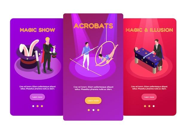Circus isometrische verticale banners sjabloon set met acrobaten en magische show geïsoleerd