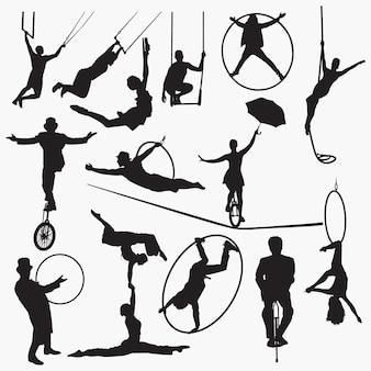 Circus kunstenaar silhouet