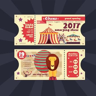 Circus magie toon ticket vector vintage ontwerp geïsoleerd