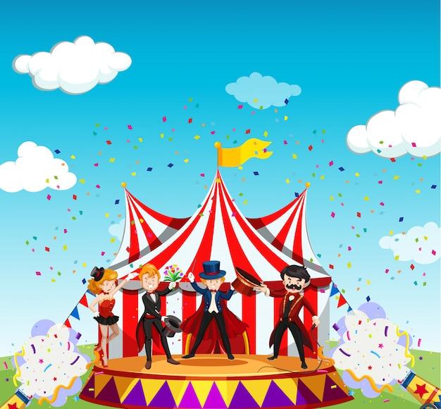 Circus met carnaval-themascène in beeldverhaalstijl