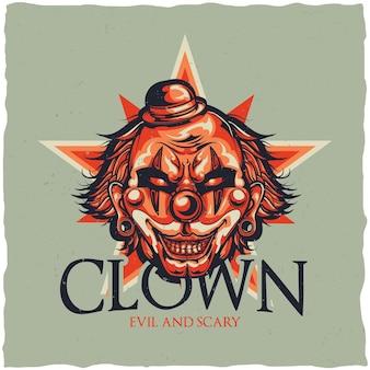Circus met illustratie van boze clown