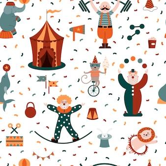 Circus naadloze patroon met clowns, acrobaten, leeuwen, zeehonden