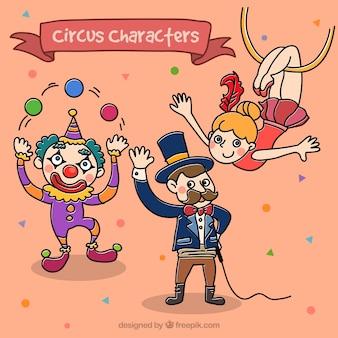 Circus personages in kinderlijke stijl