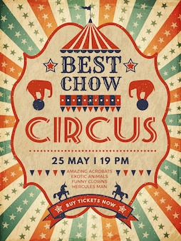 Circus poster. retro plakkaat magische uitnodiging voor circus mascarade evenement show template
