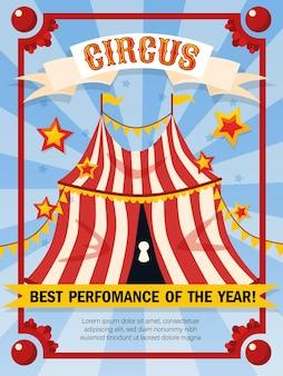 Circus poster sjabloon met vintage stijl en grote tent met bewerkbare tekst