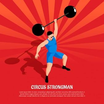 Circus sterke man in blauw kostuum met barbell op rode radiale isometrisch