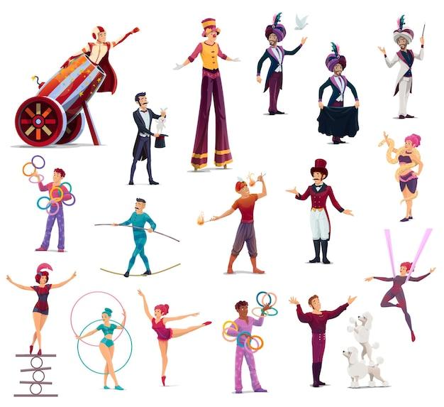 Circus stripfiguren artiesten, shapito-artiesten