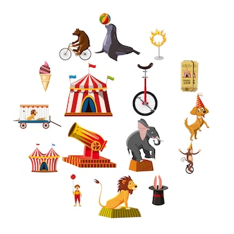 Circus symbolen iconen set, cartoon stijl