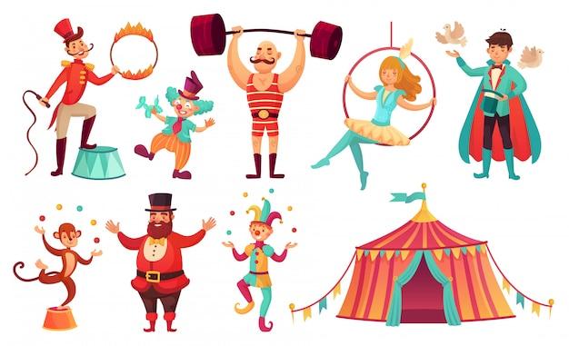 Circus tekens. jongleren met dieren, jongleur kunstenaar clown en sterke man performer. cartoon afbeelding instellen