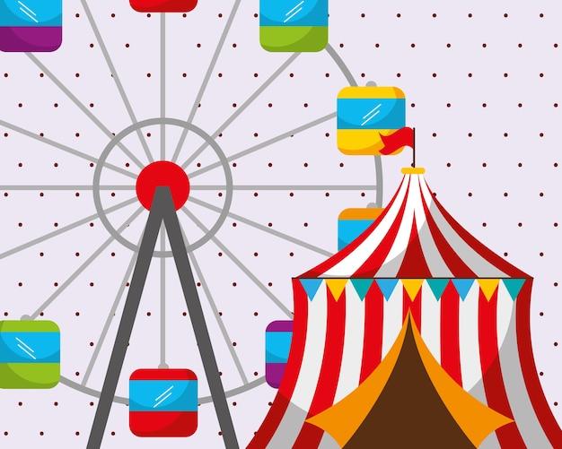 Circus tent reuzenrad carnaval kermisfestival