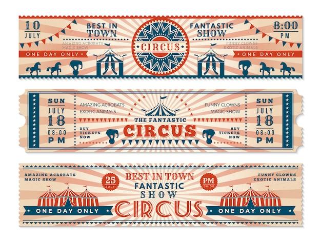 Circus tickets. de horizontale bannersuitnodiging voor circus toont retro webbanners van carnaval