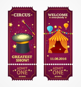 Circus tickets set geïsoleerd op wit