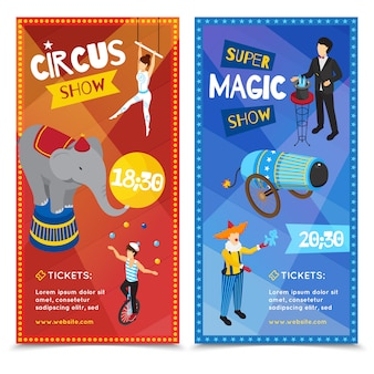 Circus verticale isometrische banners