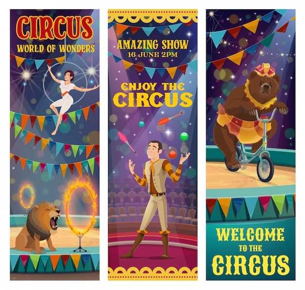 Circusacrobaat, jongleur, getrainde beer, leeuwendier