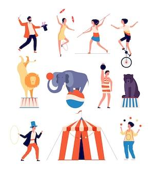 Circusacteurs. clown en goochelaar, jongleur en balancer, dierentrainer en sterke man. shapito circus geïsoleerde karakters. illustratie artiest, clown en olifant, turnster en jongleur
