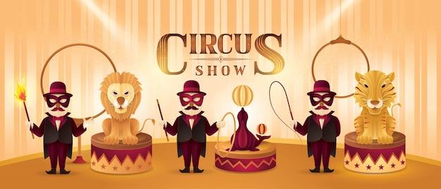 Circusartiesten acteurs show set, leeuw, tijger en pelsrobben en dieren trainer