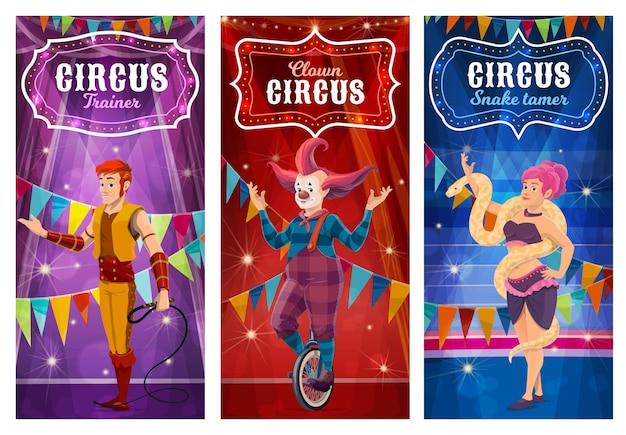 Circusartiesten grote topartiesten slangentemmer