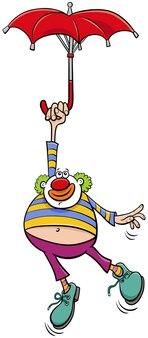 Circusclown met paraplu cartoon afbeelding