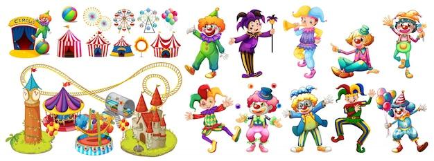Circusclowns en vele attracties