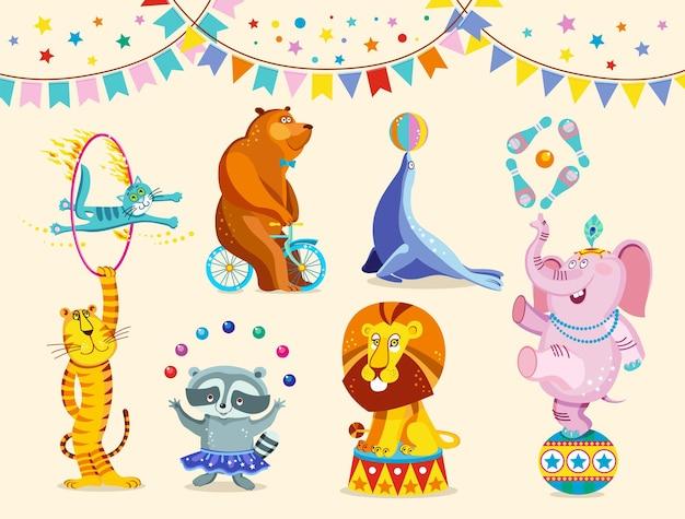 Circusdieren decoratieve pictogrammen instellen. grappige circusolifant, tijger, kat, beer, wasbeer, leeuw voeren trucs uit. vectorillustratie