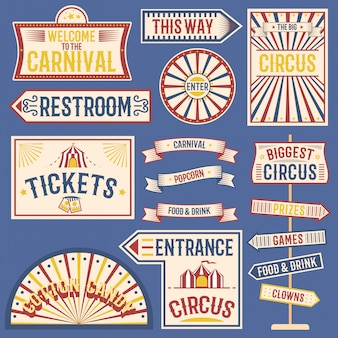 Circusetiketten carnaval tonen vintage labelelementen voor circusontwerp op het feestthema.