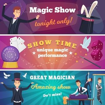 Circusfeest s. magische show met tovenaar karakters circus trucs tekenfilms achtergrond