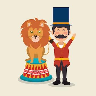 Circuspresentator met leeuw