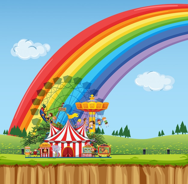 Circusscène met tent en vele ritten