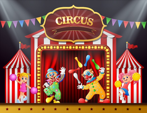 Circusshow met clowns en cheerleader in de arena