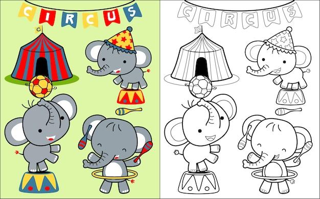 Circusshow met leuke olifantencartoon